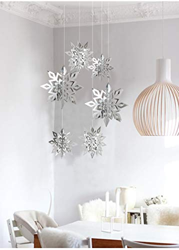 - Get Orange 24PCS 3D Stereoscopic Snowflake Christmas Hanging Christmas Party Decoration String Paper Garland Wedding Birthday Party Baby Shower Background Winter Decorative (Silver)