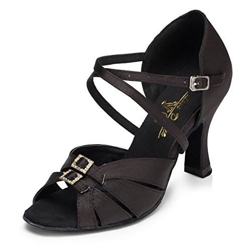 Dance Minitoo Satin Ballroom Latin Black Shoes Tango Hot Women's AAwrqY4