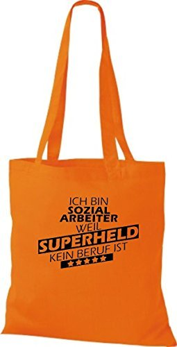 Shirtstown Bolso de tela Estoy Trabajador social, weil Superheld sin Trabajo ist Naranja
