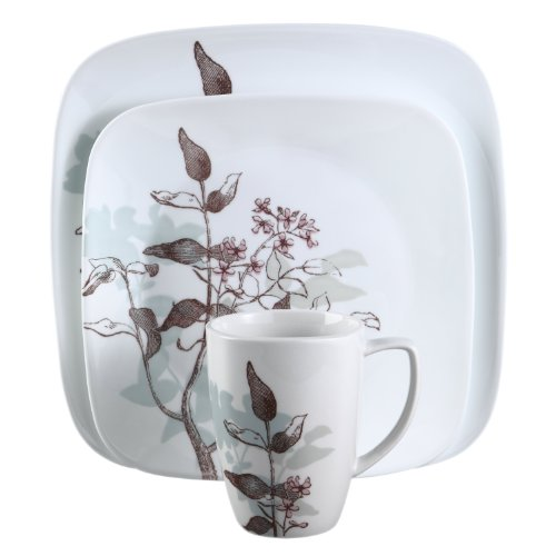 Corelle Square 16-Piece Dinnerware Set, Twilight Grove, Service for 4 Dish Garden Flowers