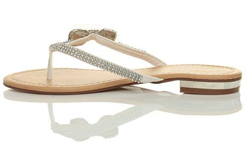 Damen Strass Schleife Sommer Strandhochzeit Abend Zehentrenner Sandalen Größe Weiß
