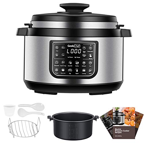 Geek Chef 8 Qt Electric Pressure Cooker with non stick oval inner pot, 12 Presets Programmable Multi-functional Slow, Rice Cooker/Steamer, Saut, Yogurt, Soup Maker, cool-touch handles, EZ-Lock