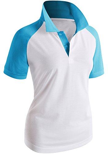 CLOVERY Women's Two Tone Design Raglan Short Sleeve Polo Shirt Aqua US L/Tag L