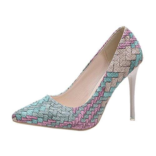 JIANGFU Frauen Frühling Mode Wilden Mix Farbe Spitz Flachen Mund [Stiletto Schuhe], Damenmode Dünne Fersen Schuhe Wilde Gemischte Farben Flache High Heels Schuhe Blau