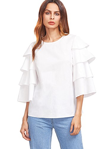 White Ruffle Sleeve (MakeMeChic Women's Layered Bell Sleeve Blouse Ruffle 3/4 Sleeve Top White M)
