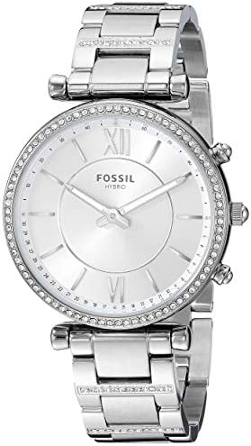 Fossil Women s Carlie Stainless Steel Hybrid Smartwatch with Activity Tracking and Smartphone Notifications