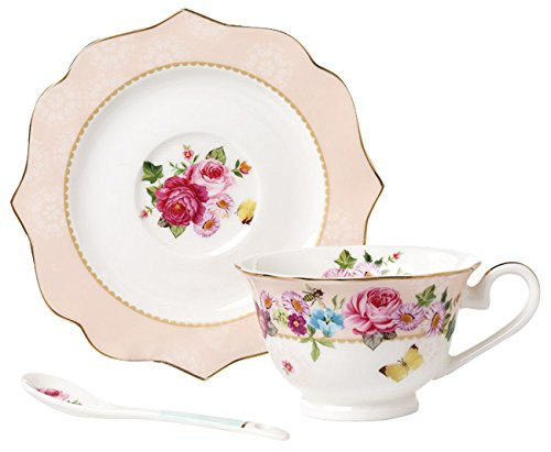 Jusalpha Vintage Rose Bone China Teacup Spoon and Saucer Set/Coffee Cup with Saucer (TCS08 Pink)