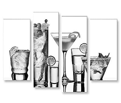 Quadro moderno Le bebidas (blanco y negro 4erP Impresión ...
