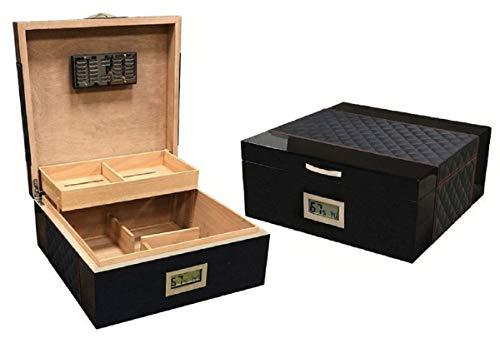 - Prestige Import Group - The Hamption Diamond Pattern Leather & Lacquer Finish Cigar Humidor - Color: Black