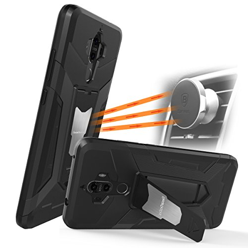 Price comparison product image Huawei Mate 9 Case ,Newseego [Shockproof] Armor Dual Layer 2 in 1 with Impact Resistant Built-in Kickstand Fit Magnetic Car Mount for Mate 9 Case-Black
