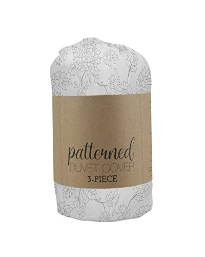 - Simply Soft Duvet Cover Set Vine Patterned, Queen, Gray