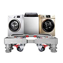 Strong Refrigerator Stand Washer Dryer Stand Moving Dolly Rollers with 8 Adjustable Feet and 8 Locking Rubber Casters Wheels for Fridge Washing Machine Pedestal