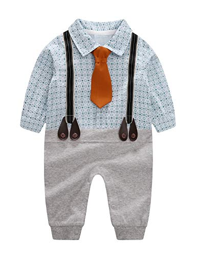 D.B.PRINCE Infant Newborn Baby Boy Long Sleeves Gentleman Romper Suits Dress Clothes Outfits with Bow Tie (Blue01, 0-3 Months) -