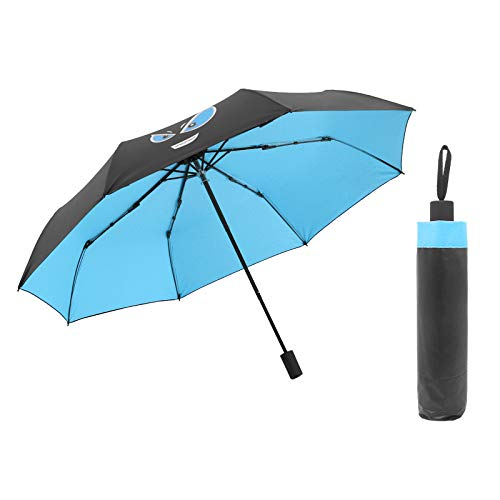 GGJYW Tri-fold Umbrella Automatic Sun Umbrella Folding Black Plastic Sunshade Umbrella Gift, Sky Blue Little Devil (Manual Black Plastic) (Under The Umbrella Diameter 98CM)