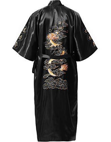 MORCOE Men's Chinese Dragon Embroidered Satin Kimono Yukata Long Robe Soft Loungewear Nightgown Pajamas with Pockets Gift (Style2 Black(one-Side wear)) Chinese Silk Coat Jacket