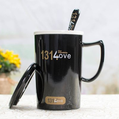 BBujsgH The cups ceramic couples cup of water bowl with the lid of the CERAMIC MUG Water Cup cup of coffee cups ,1314 black cup C