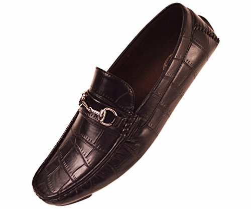 Amali Mens Driving Moccasin Loafer in Black Croco Print with Silver Ornament : Style Fedor Black-000 14 D (M) US