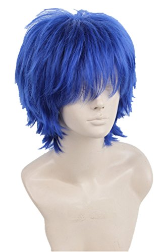[Topcosplay Halloween Costume Cosplay Wig Short Blue with Bangs Layered Fluffy for Woman or Men(Dark] (Blue Wigs For Women)