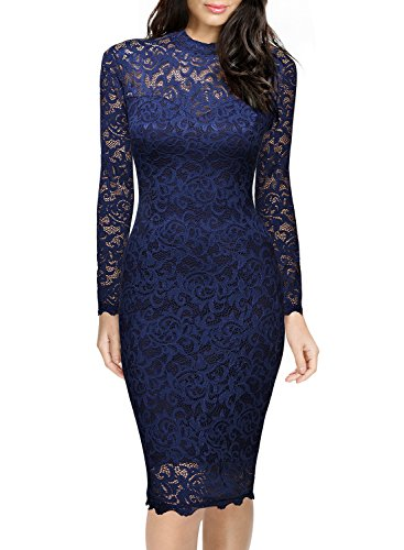Miusol Women's Retro Floral Lace Long Sleeve Slim Evening Cocktail Mini Dress,X-Large ,Navy Blue