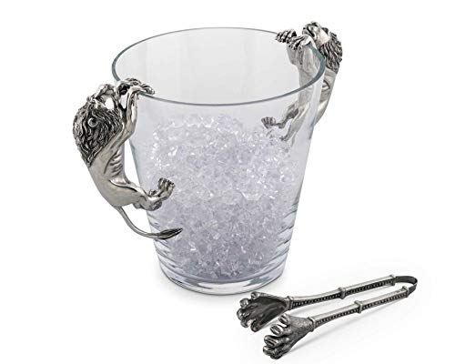 (Vagabond House Glass Ice/Wine/Champagne Bucket with Pewter Lion Handles 11