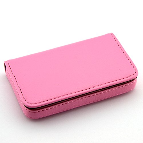 Partstock(TM) Flip Style Leather Business Name Card Wallet / Holder 25 Cards Case 4L x 2.8W inches with Magnetic Shut.(Pink) (Pink Card Business)