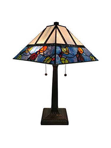(Amora Lighting AM300TL14 22 Inches Tall Tiffany Style Berries/Leaves Mission Table Lamp 22
