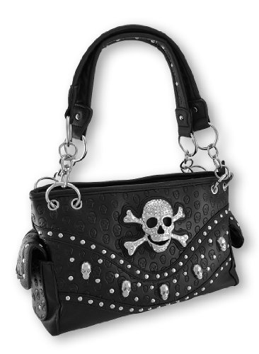 Studded Rhinestone Skull and Crossbones Concealed Carry Purse