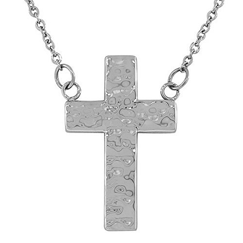 My Daily Styles Stainless Steel Silver-Tone Hammered Finish Cross Pendant Necklace