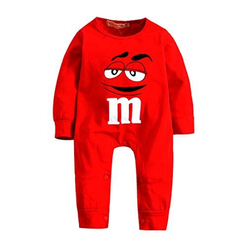 EliBella Halloween: Baby Superhero Long Sleeves Pajama/Romper (0-6 Months, Red m)