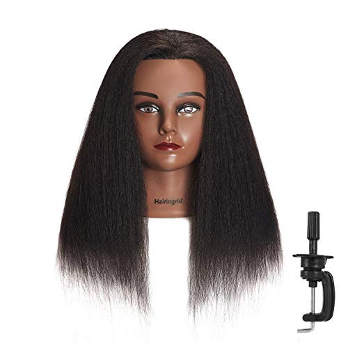"Hairingrid Mannequin Head 14"" 100% Real Hair Hairdresser Cosmetology Mannequin Manikin Training Head Hair and Free Clamp Holder (14"")"