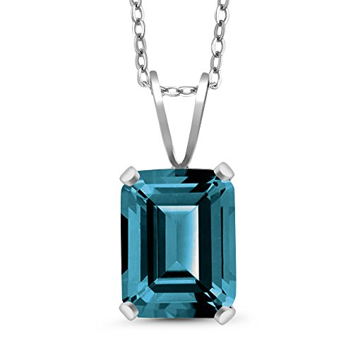 Gem Stone King 2.30 Ct Octagon London Blue Topaz 925 Sterling Silver Pendant With Chain