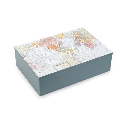 Caja Decorativa Mapas. Café e Infusiones. 6 Separadores. 7 x 24 x 16