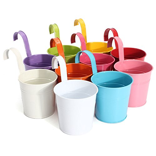 Colorful hanging flower pots