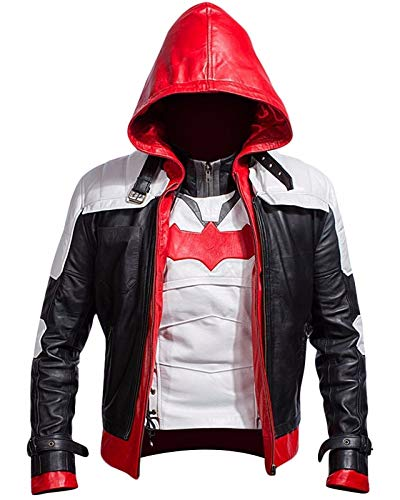 Batman Arkham Knight Game Red Hood Faux Leather Jacket & Vest Costume (XL, Red-White-Black)]()