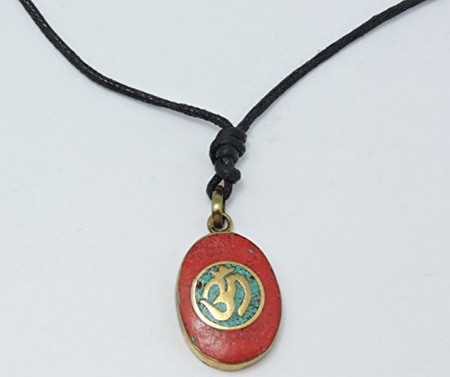 Handmade Tibetan Coral and Turquoise Inlayed Brass Om Pendant Necklace