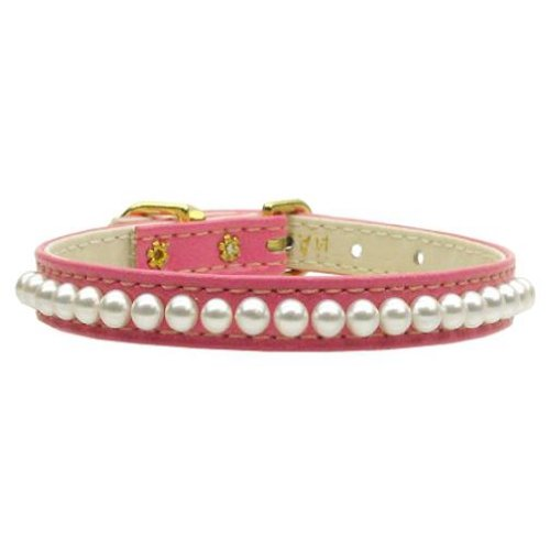Mirage Pet Products 3 8-Inch Pearl Pet Collar, Size 10, Pink