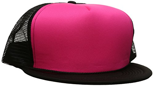 DECKY Flat Bill Neon Trucker Cap, Black/Neon Pink