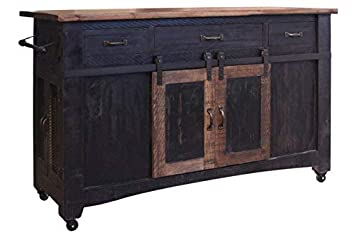 Crafters and Weavers Greenview 3 Drawer Kitchen Island w 2 Sliding Doors 2 Mesh Doors Kitchen Counter – Distressed Black