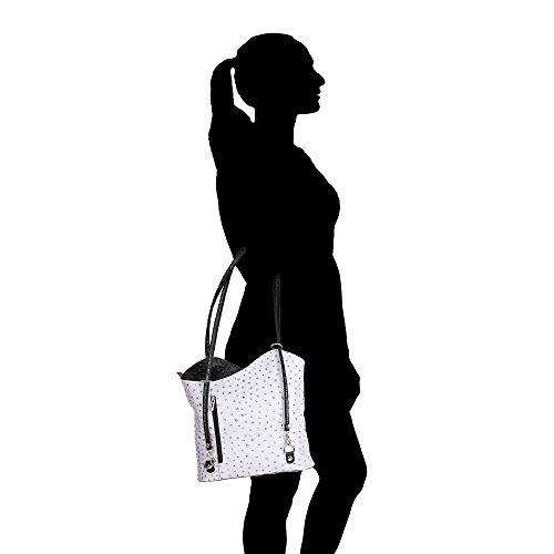 Italia Tracolla Cm A Modello Borse Nero Vera 28x30x9 Made Chicca Donna Pelle Borsa Struzzo Grigio In 5OzxW5f