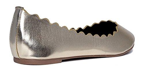 J. Adams Adorable Ballerine Festonnée Plate - Slip Classique Sur Le Plat - Confortables Chaussures À Bout Fermé - Janie By Light Gold Pu