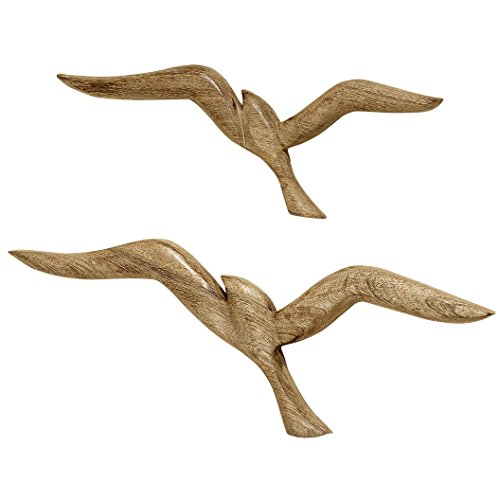 WHW Whole House Worlds Americana Flying Sea Gulls Wall Sculptures, Curated Set of 2, Handcrafted, Carved of Solid Mango Wood, Each Over 1 Foot Long (18 x 6 1/4 and 14 1/4 x 5 Inches)