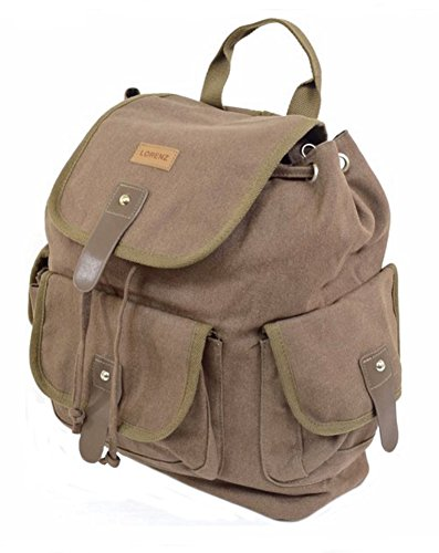 Backpack Canvas School Work Rucksack Brown Holiday Travel CqwF1qB