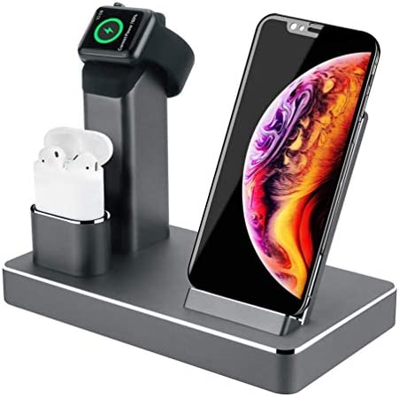 [해외]ZIKU 애플 워치 아이폰 X88Plus77Plus6s6s Plus용 알루미늄 스탠드 (블랙 Z808) / ZIKU Wireless Charger.6 in 1 Aluminum Alloy 80W 14A 5-Port USB Wireless Charging Stand Station Dock for AirpodsApple Watch 54321 iPhone 11 Pro MaxXXSXRXs ...