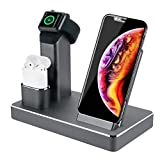 ZIKU Wireless Charger.6 in 1 Aluminum Alloy 80W 14A 5-Port USB Wireless Charging Stand Station Dock for Airpods 1/2 Apple Watch 4/3/2/1 iPhone X/XS/XR/Xs Max/8/8 Plus-Built-in Adapter(Gray)