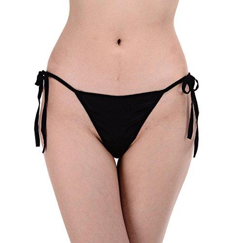 Satin Low Rise String Bikini Panties Tanga SN028 Black L/XL (Satin Spandex Tie)