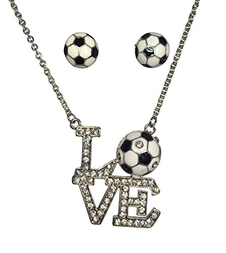 LOVE Soccer Bling Rhinestone Silver Tone Necklace and Earrings Set ()