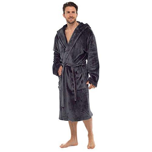 Wolf & Harte Men's Luxury Supersoft Flannel Fleece Hooded Bath Robe, Charcoal, Medium/Large