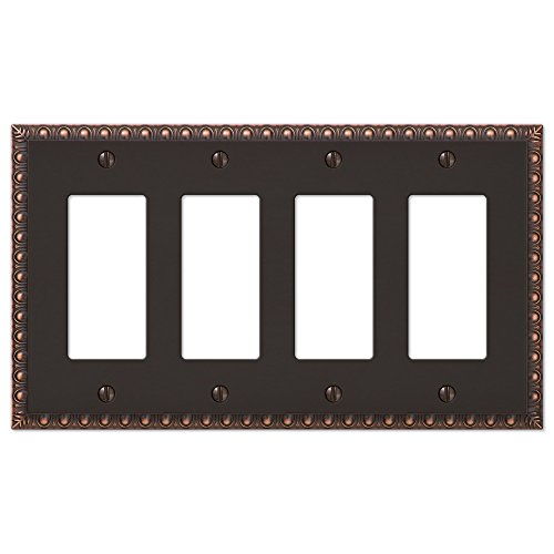 4-Gang Quad Rocker Switch Plate Outlet Wall Plate Cover, Oil Rubbed Bronze ()