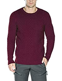 Mens Cable Knit Long Sleeves Crewneck Pullover Sweaters