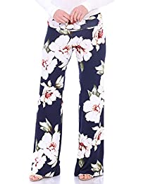 Popana Womens Comfy Chic Wide Leg Boho Print Palazzo Pants Plus Size Made in USA